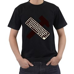 Hammer And Keyboard  Mens' Two Sided T-shirt (Black) by youshidesign