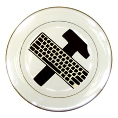Hammer And Keyboard  Porcelain Display Plate by youshidesign