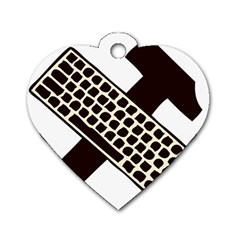 Hammer And Keyboard  Dog Tag Heart (one Sided)  by youshidesign