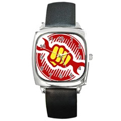 Power To The People Square Leather Watch by youshidesign