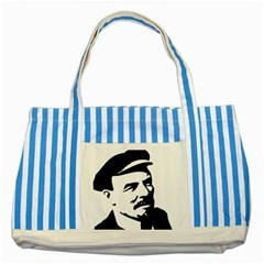 Lenin Portret Blue Striped Tote Bag by youshidesign
