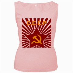 Hammer And Sickle Cccp Women s Pink Tank Top by youshidesign