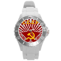 Hammer And Sickle Cccp Round Plastic Sport Watch Large by youshidesign