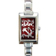 Cccp Soviet Union Flag Rectangular Italian Charm Watch by youshidesign