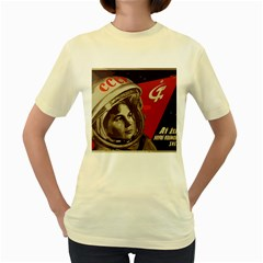 Soviet Union In Space  Womens  T Shirt (yellow) by youshidesign