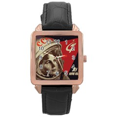 Soviet Union In Space Rose Gold Leather Watch  by youshidesign