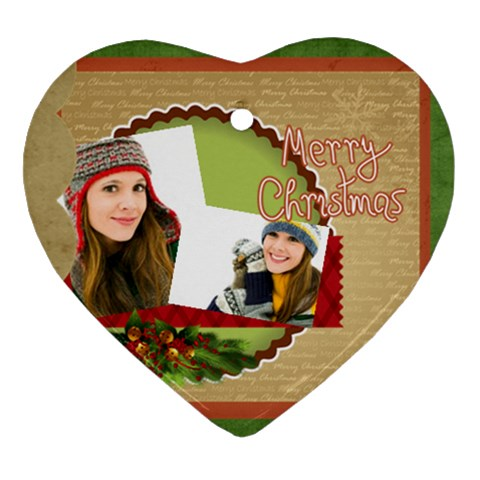 Merry Christmas By Merry Christmas   Ornament (heart)   Ga68ompbb7qt   Www Artscow Com Front