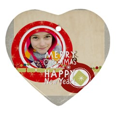 Merry Christmas By Merry Christmas   Heart Ornament (two Sides)   1ran8bd4a0lf   Www Artscow Com Front