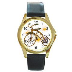 Tree Cycle Round Metal Watch (gold Rim)  by Contest1753604
