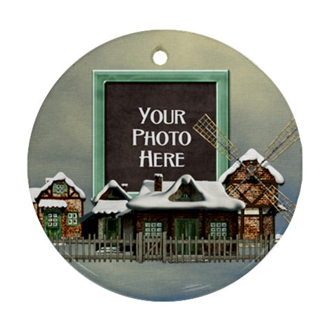 Holiday Village Ornament By Lisa Minor   Ornament (round)   Qqzii6d6q0kc   Www Artscow Com Front