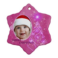 Pink Snowflake Ornament (2 Sided) By Deborah   Snowflake Ornament (two Sides)   Tj25b10n50n1   Www Artscow Com Front