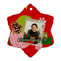 Merry Christmas By Merry Christmas   Snowflake Ornament (two Sides)   6yvfu4p9565d   Www Artscow Com Back