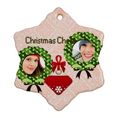 Merry Christmas By Merry Christmas   Snowflake Ornament (two Sides)   9jxehnzfik7g   Www Artscow Com Front