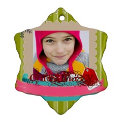 Merry Christmas By Merry Christmas   Snowflake Ornament (two Sides)   7fwrbldizyfg   Www Artscow Com Front