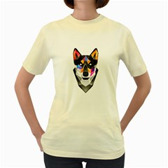 WOLF  Womens  T-shirt (Yellow) by Contest1741741