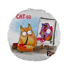 Pookiecat   Picatso  15  Premium Round Cushion  by PookieCat