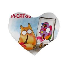 Pookiecat   Picatso  16  Premium Heart Shape Cushion  by PookieCat