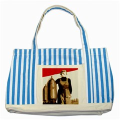 Power  To The Masses Striped Blue Tote Bag by youshidesign