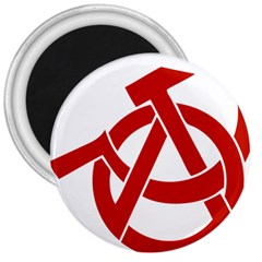Hammer Sickle Anarchy 3  Button Magnet by youshidesign