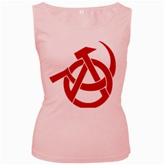 Hammer Sickle Anarchy Womens  Tank Top (pink) by youshidesign