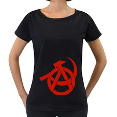 Hammer Sickle Anarchy Womens' Maternity T Shirt (black)