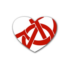 Hammer Sickle Anarchy Drink Coasters (heart) by youshidesign