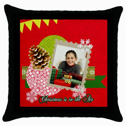 Merry Christmas By Merry Christmas   Throw Pillow Case (black)   2s02t6mtn14n   Www Artscow Com Front