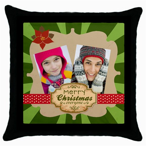 Merry Christmas By Merry Christmas   Throw Pillow Case (black)   Dyko61r1e0du   Www Artscow Com Front