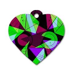 Modern Art Dog Tag Heart (two Sided) by Siebenhuehner