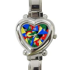 Modern Art Heart Italian Charm Watch  by Siebenhuehner
