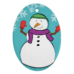 Snowman Oval Ornament by PaolAllen