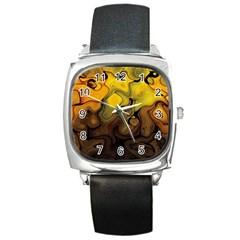 Modern Art Square Leather Watch by Siebenhuehner