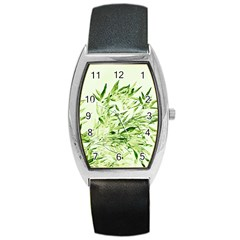 Bamboo Tonneau Leather Watch by Siebenhuehner