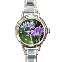 Flower Round Italian Charm Watch by Siebenhuehner