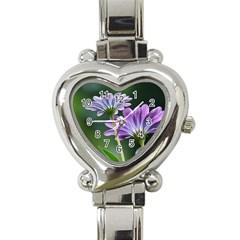 Flower Heart Italian Charm Watch  by Siebenhuehner