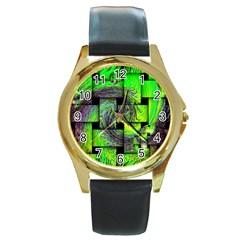 Modern Art Round Metal Watch (gold Rim)  by Siebenhuehner
