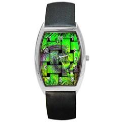 Modern Art Tonneau Leather Watch by Siebenhuehner