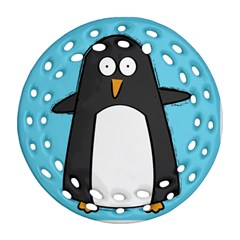 Hello Penguin Round Filigree Ornament by PaolAllen