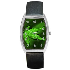 Leaf With Drops Tonneau Leather Watch by Siebenhuehner