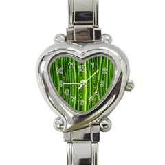 Bamboo Heart Italian Charm Watch  by Siebenhuehner