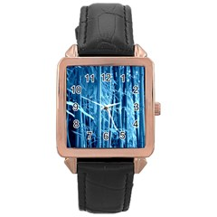 Blue Bamboo Rose Gold Leather Watch  by Siebenhuehner