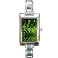 Leaf Rectangular Italian Charm Watch by Siebenhuehner