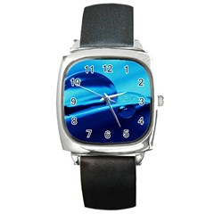 Waterdrops Square Leather Watch by Siebenhuehner
