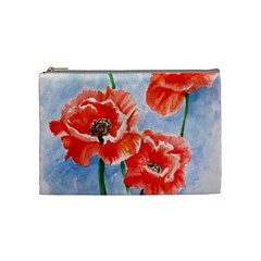 Poppies Cosmetic Bag (medium) by ArtByThree