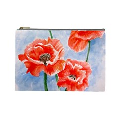 Poppies Cosmetic Bag (Large) by ArtByThree