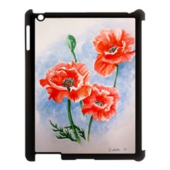 Poppies Apple Ipad 3/4 Case (black) by ArtByThree