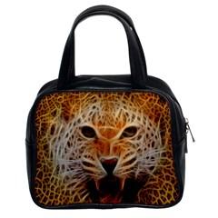 Electrified Fractal Jaguar Classic Handbag (two Sides) by TheWowFactor