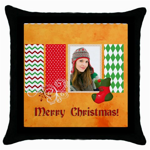 Merry Christmas By Merry Christmas   Throw Pillow Case (black)   4li6tao19lss   Www Artscow Com Front