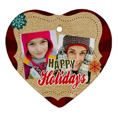 Merry Christmas By Merry Christmas   Heart Ornament (two Sides)   Yfnra523lpzb   Www Artscow Com Front
