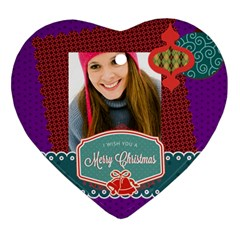 Merry Christmas By Merry Christmas   Heart Ornament (two Sides)   Fieyq50t0ljl   Www Artscow Com Front